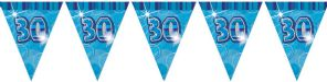 Blue Glitz '30th' Birthday Flag Banner